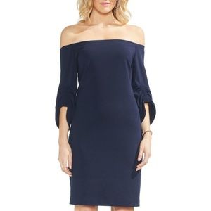 VINCE CAMUTO Sapphire Bloom Off The Shoulder Dress